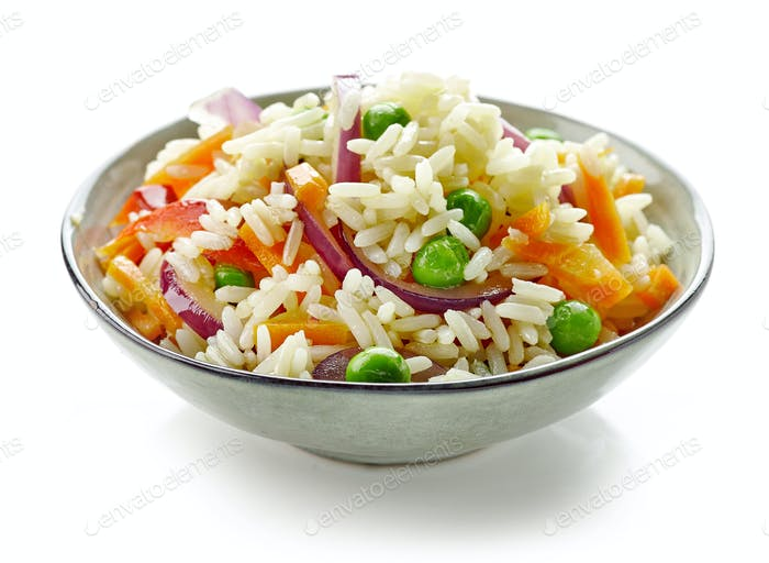 bowl of boiled rice with vegetables