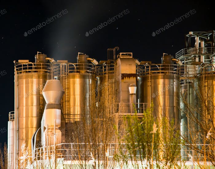 Illuminated Chemical Plant at night