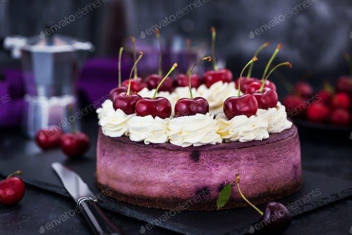Delicious homemade blueberry cheesecake decorated with cream and