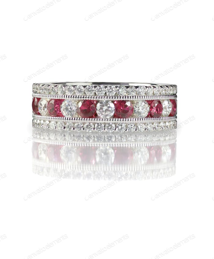 Ruby and diamond wedding bridal engagement anniversary band ring