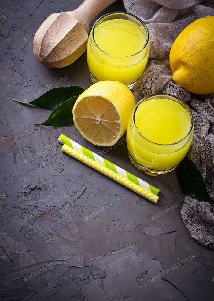 Italian liqueur limoncello with lemons