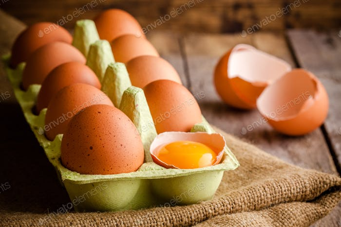 Fresh farm eggs in the package