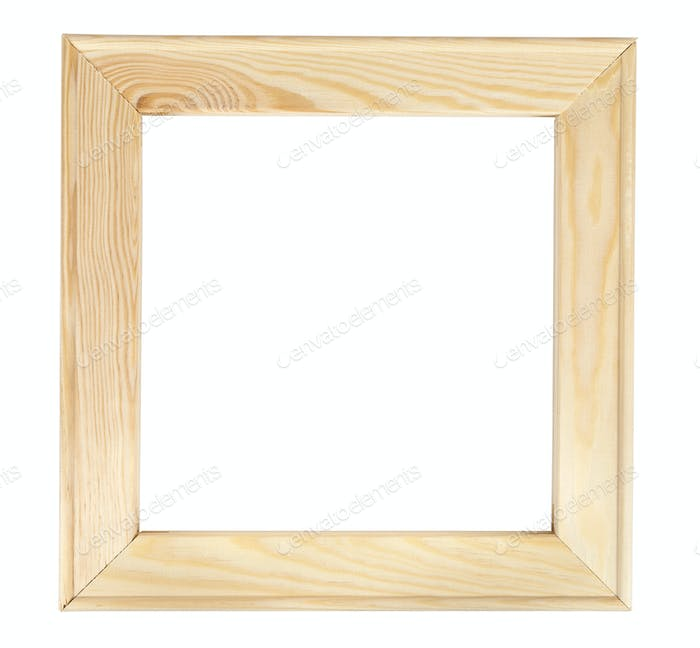 Square wooden picture frame on white backround