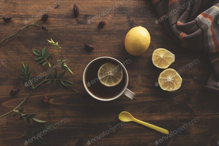 Rosehip briar tea with lemon, top view