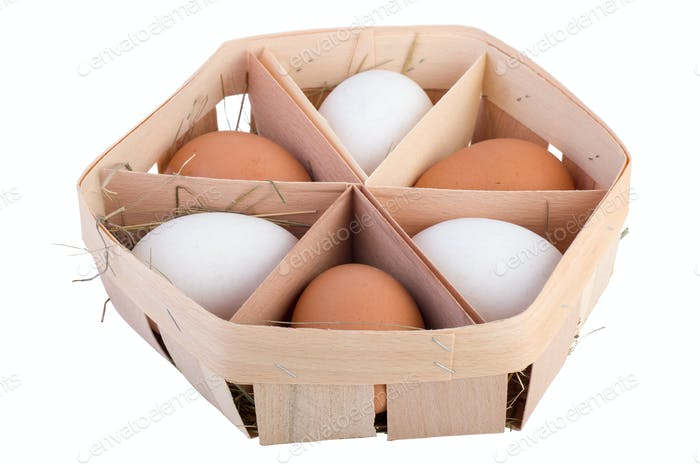 Thin wood egg box with six eggs