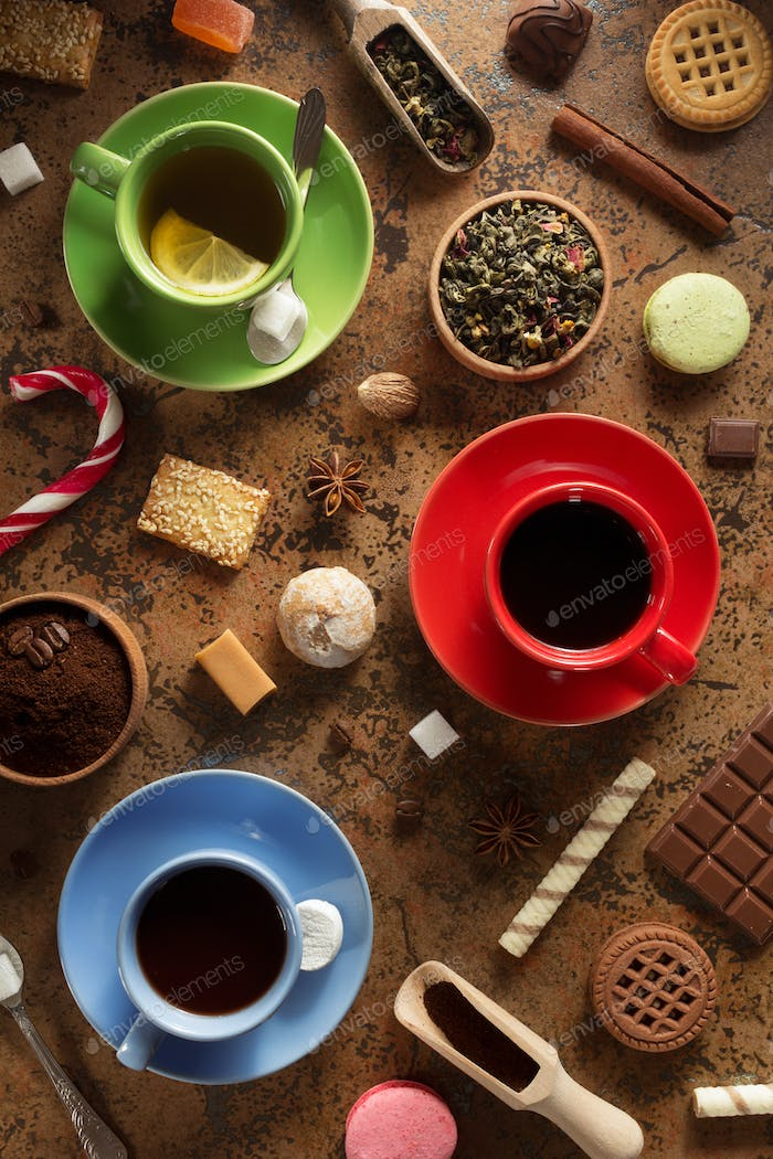 cup of coffee, tea and cacao at