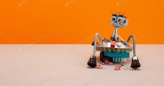 Steampunk style professional robotic vacuum cleaner machine