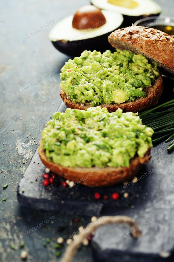 Tasty avocado sandwiches