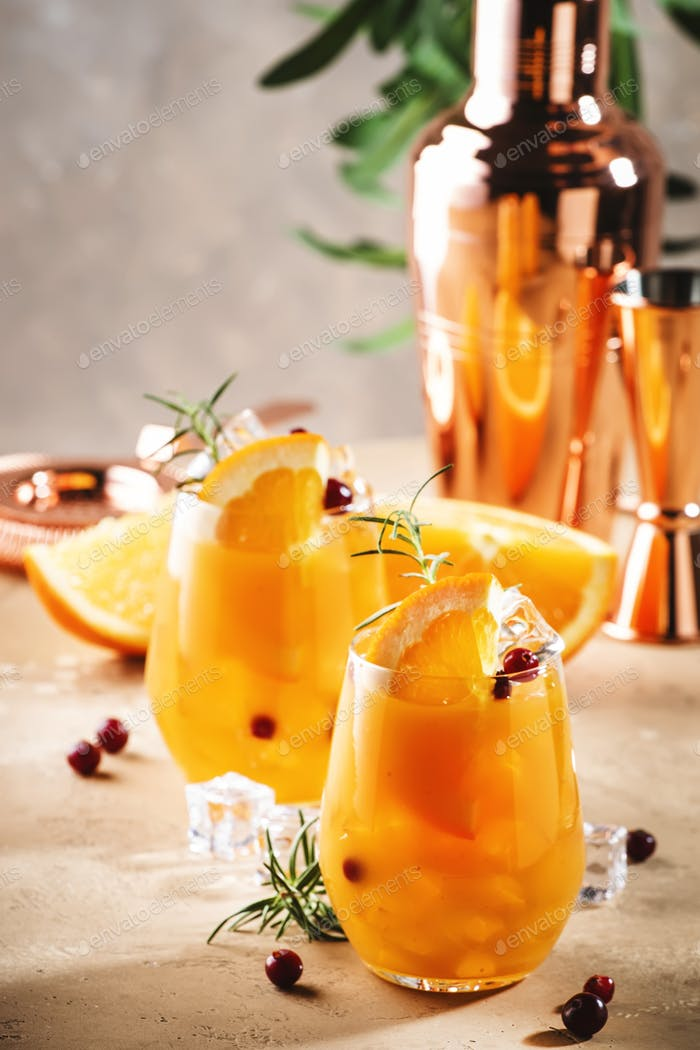 Orange cocktail with cranberry, rosemary and ice