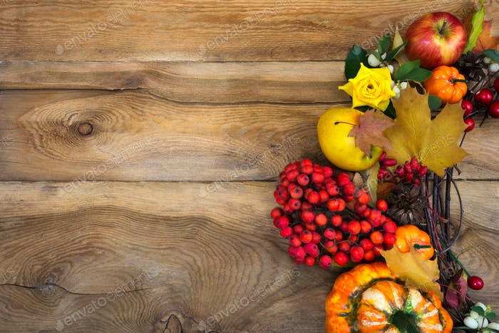 Thanksgiving wreath with pumpkins and rowan berries, copy space