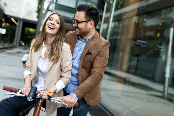 Young happy couple enjoying city, having fun and dating
