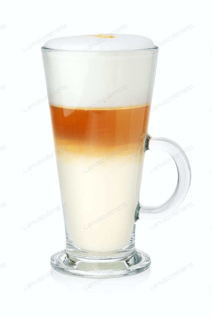 Glass of latte on white