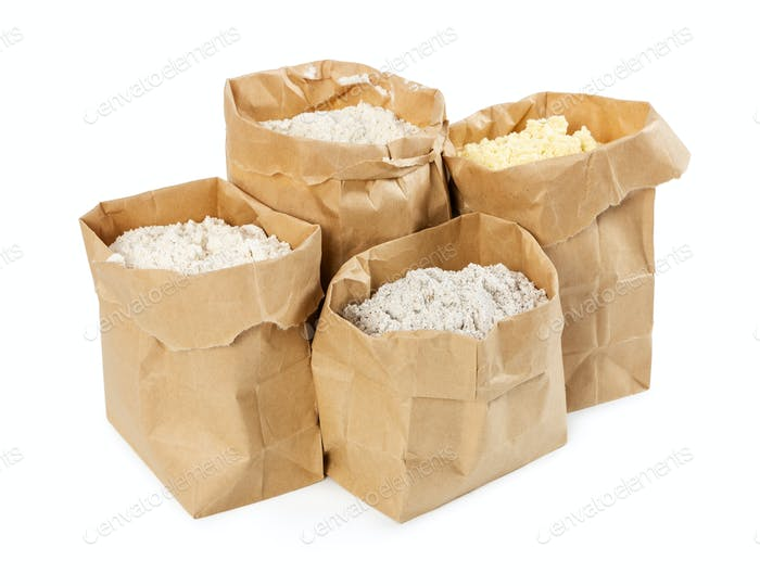 Flour and flour mixture in paper bags