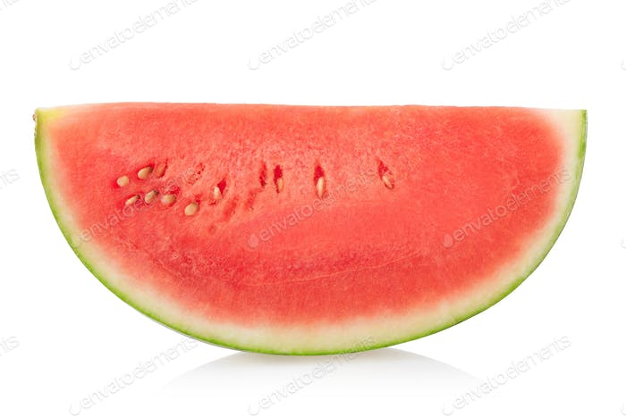 Watermelon slice isolated on white, clipping path
