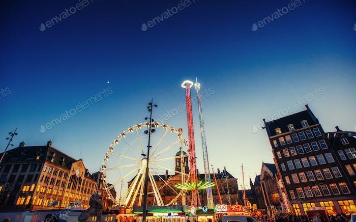 amusement park carousel. Beautiful night lighting. A fairy tale for children