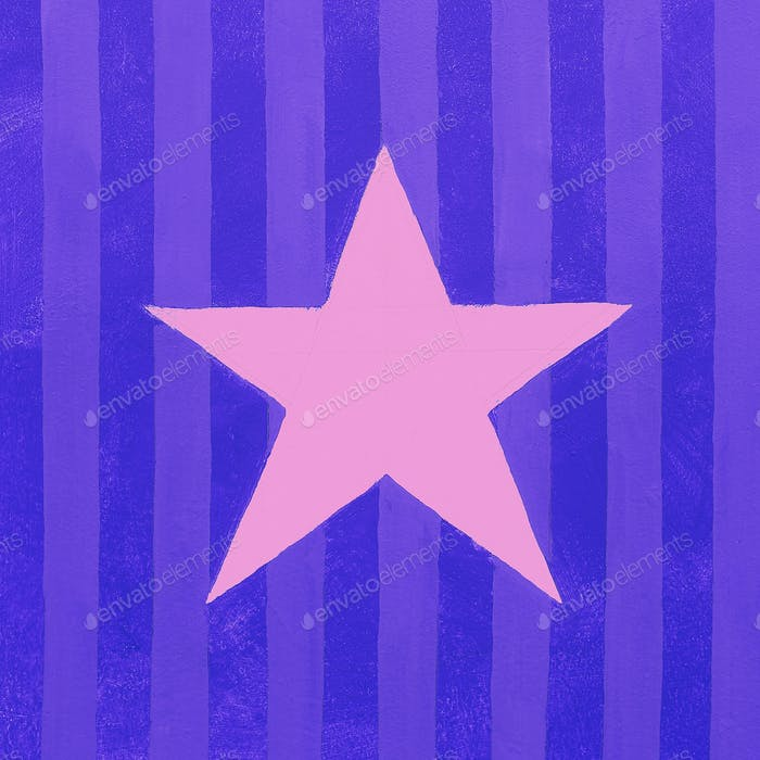 Star and colored striped wall minimal city art