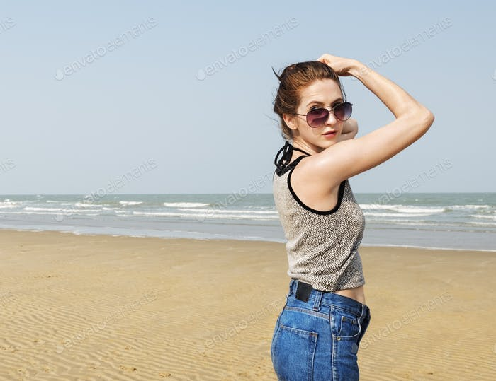 Girl Beach Summer Holiday Vacation Relaxation Concept