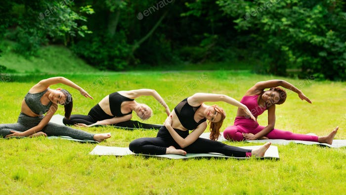 Yoga for inner harmony. Multinational women on their morning practice at park