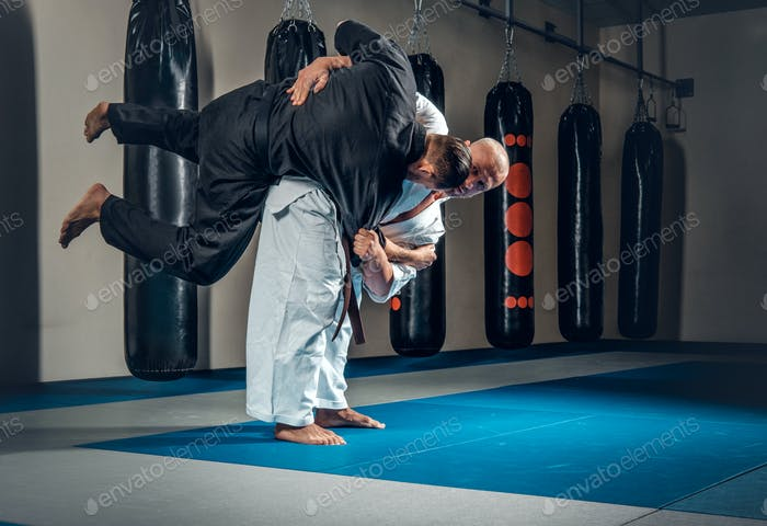 Two judo wrestlers showing their technical skills.