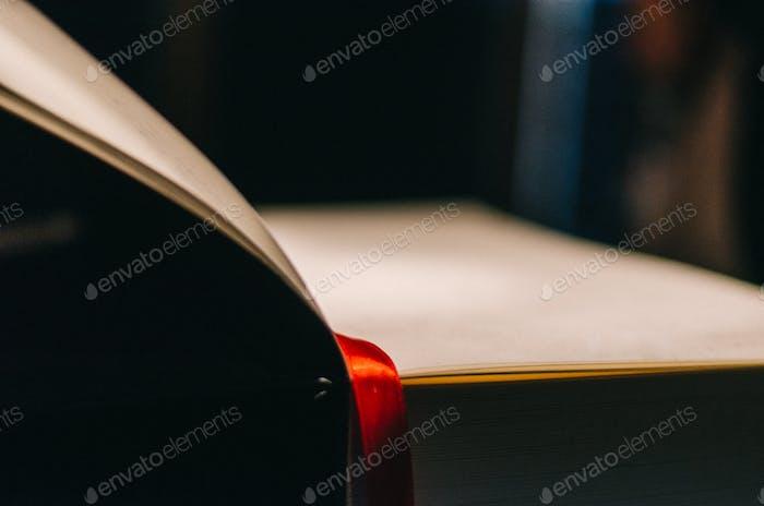 Altes Buch mit rotem Satin Lesezeichen