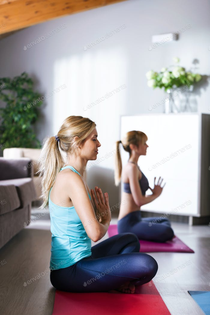 Two pretty young sporty women practicing yoga at home