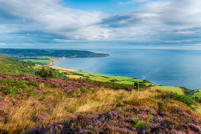 The beautiful view from Ravenscar out to Robinhood's Bay