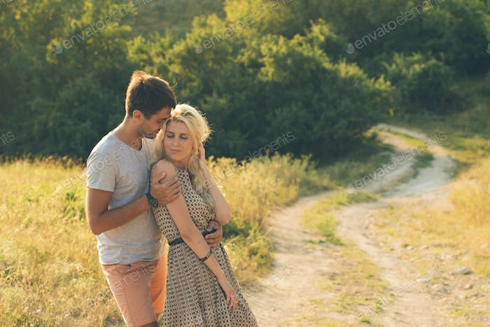 Couple in love Man and Woman nature Together Summer