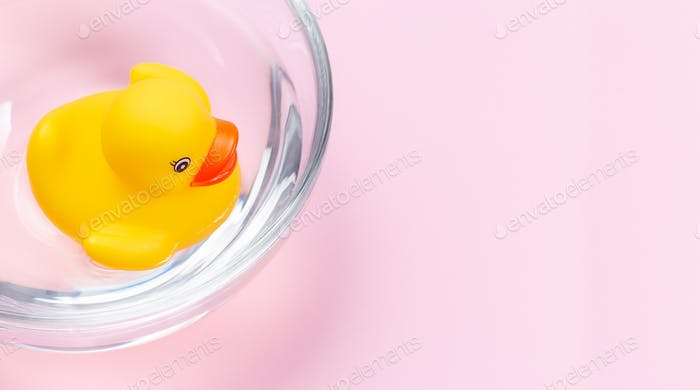 One rubber duck floating in water