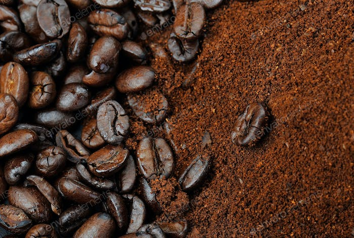 coffee. Coffee beans and cup of coffee. Close up view.
