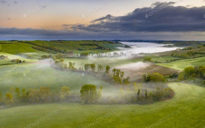 Lush green River valley Tuscany
