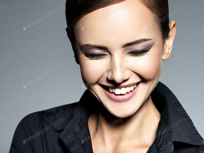 Woman smiling beautiful portrait face fashion happy