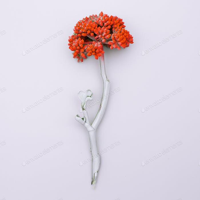 Paint tropical plants. Minimal art design