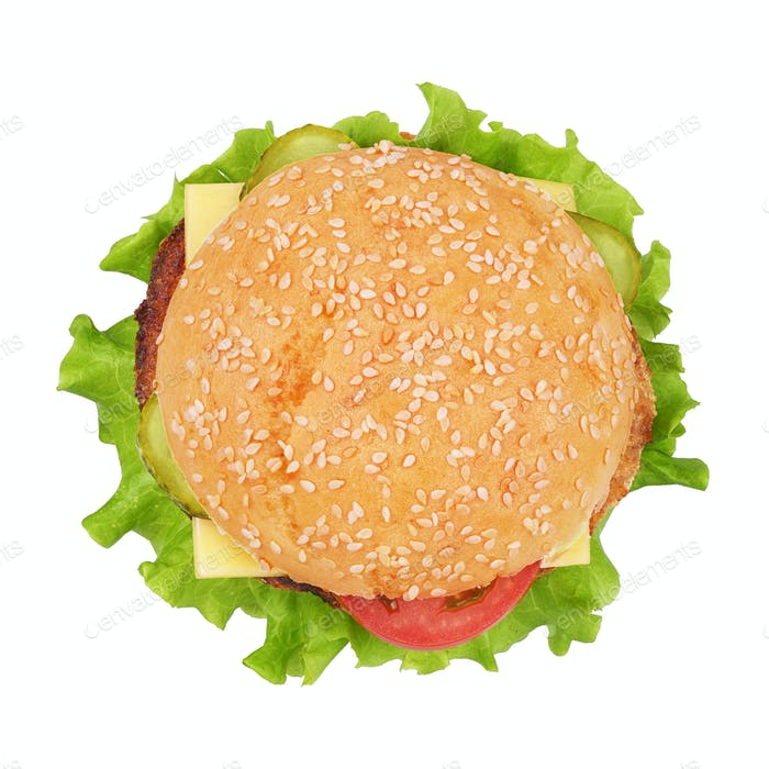Classic cheeseburger isolated on white background.