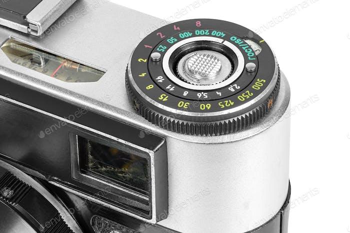 Closeup of vintage camera controls