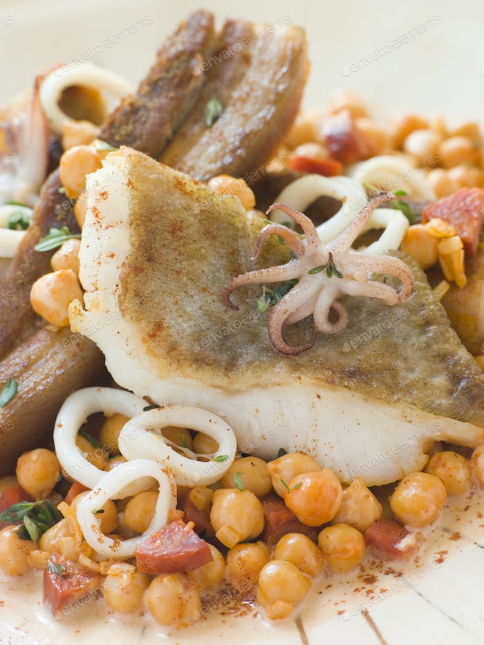 Pan Fried Cod Fillet and Baby Squid with Braised Belly Pork and Chick Peas