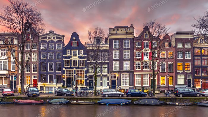 Thumbnail for Canal houses on the Brouwersgracht in Amsterdam in vintage tonin