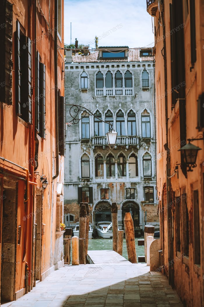 Venice, Italy. Beautiful view of old architecture buildings of the Venezia canals