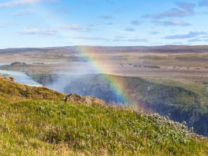 rainbow over canyon of Olfusa river in Iceland