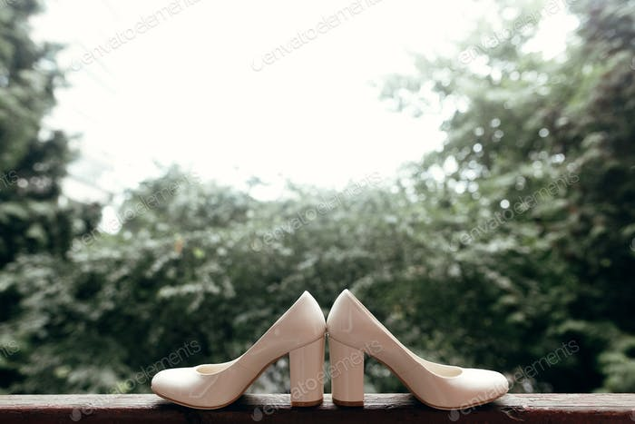 stylish wedding shoes on heels on wooden window in light
