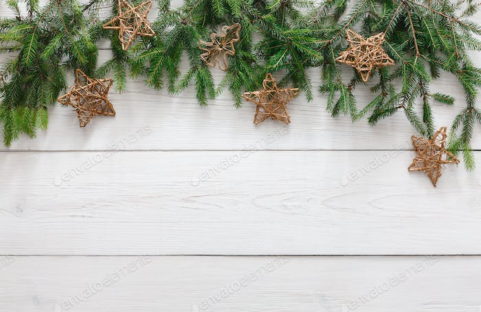 Christmas decoration, ornament and garland frame background