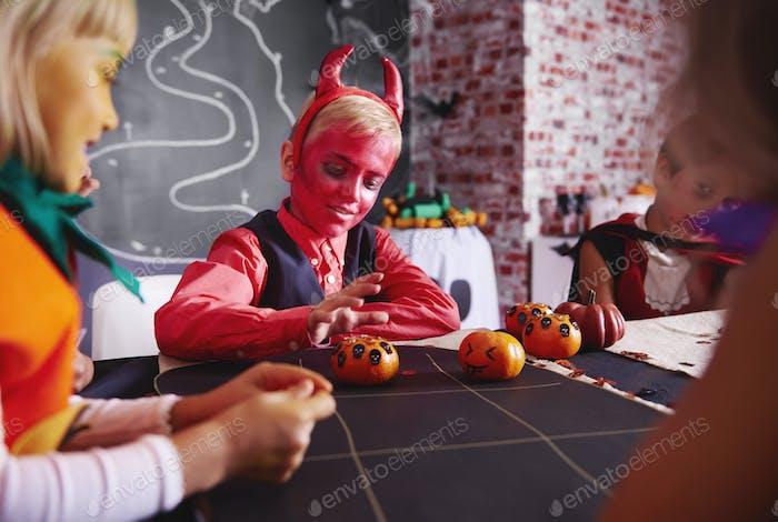 Kids enjoying at halloween party
