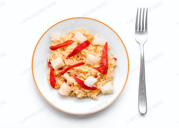 rice stew with cod and peppers