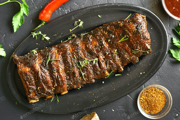 Spicy hot grilled spare ribs