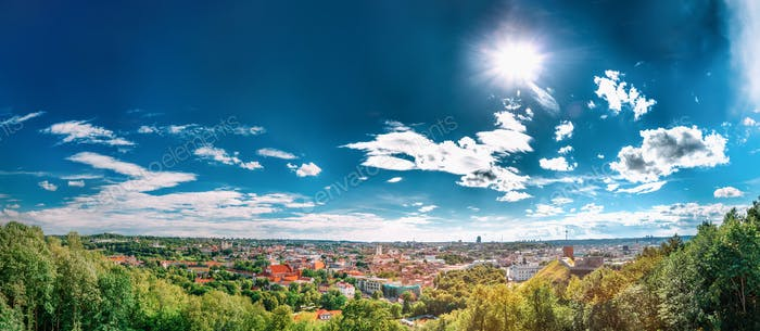 Vilnius, Lithuania. Panoramic View Of Old Town Historic Center C