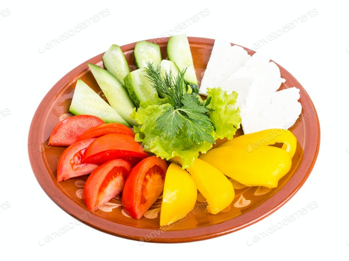 Fresh mixed vegetables and feta cheese platter.