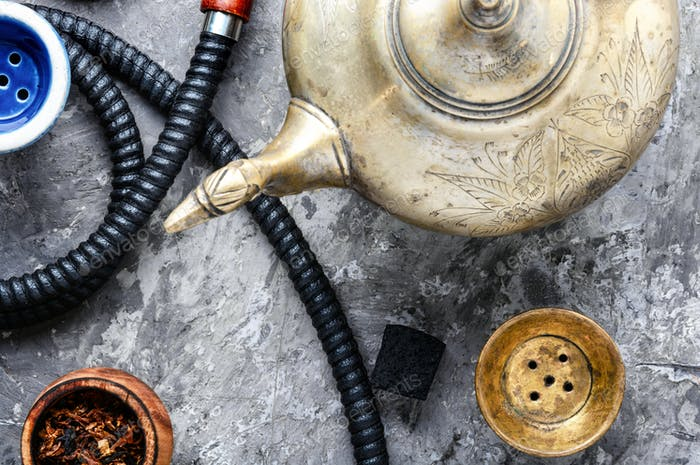 Hookah smoking with tea