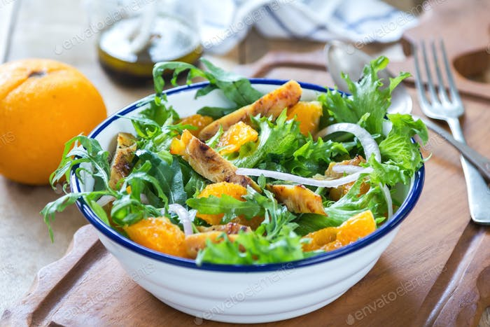 Grilled chicken with orange salad