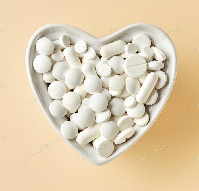 bowl of white pills