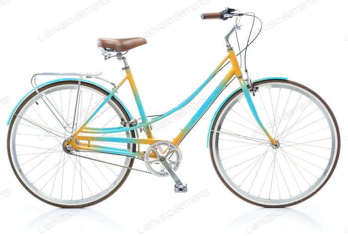 Stylish womens blue and yellow bicycle isolated on white
