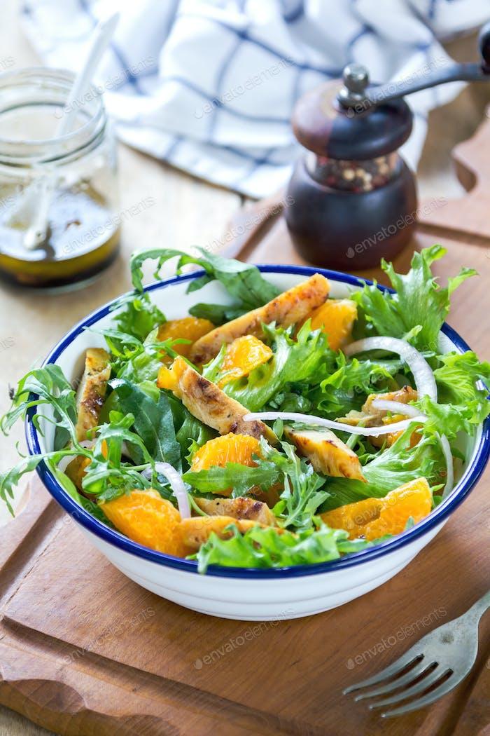 Grilled chicken with orange salad